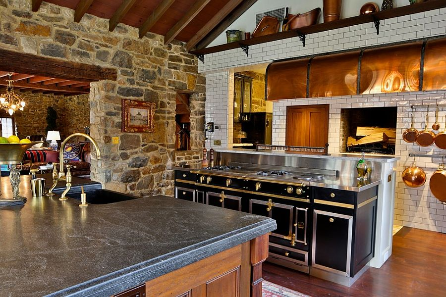 30 Inventive Kitchens with Stone Walls
