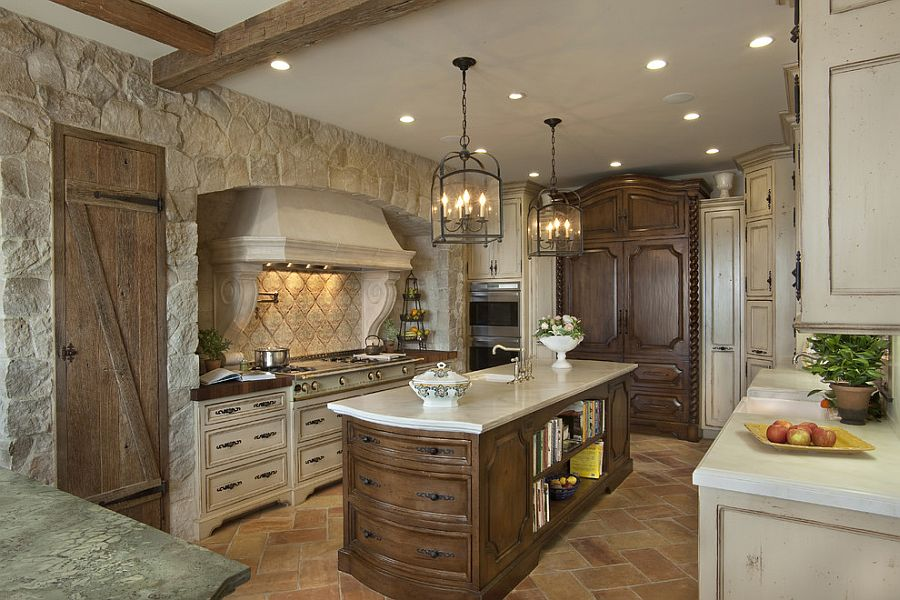 kitchen stone comfortable chairs 30 inventive kitchens with walls reclaimed french fashions a cozy ambiance in the mediterranean design gdc construction