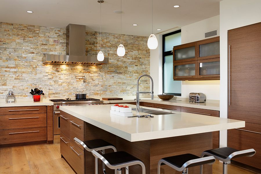 kitchen stone 7 piece table sets 30 inventive kitchens with walls smart contemporary lovely lighting and accent wall from by design