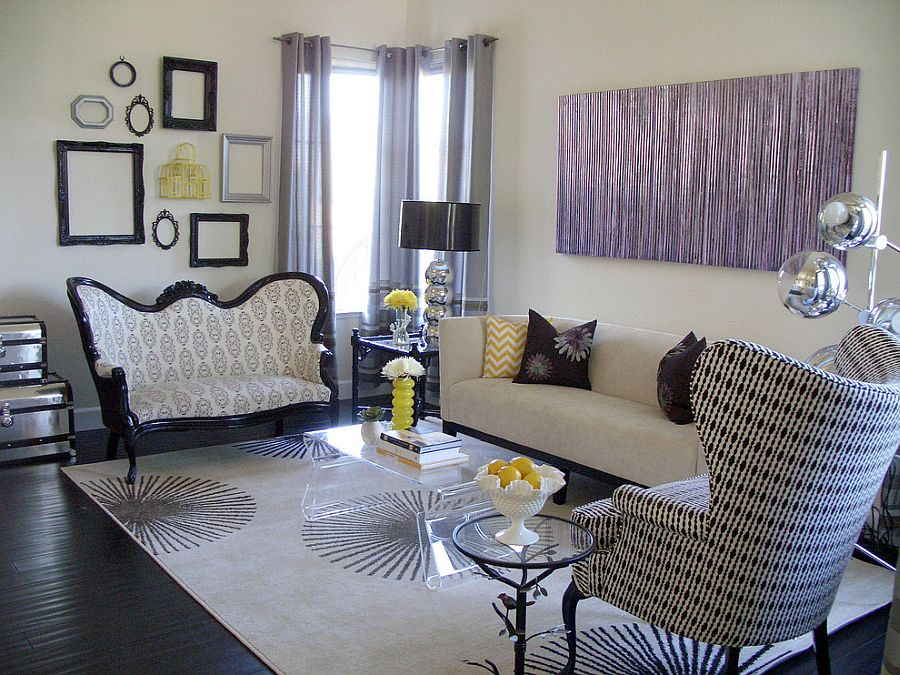 living room decorating ideas picture frames small condo interior design hot trend 30 creative ways to decorate with empty transitional a hint of purple nina jizhar