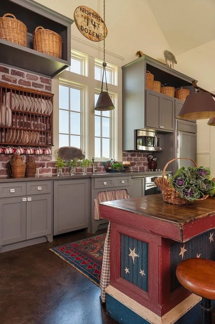 ... Unique farmhouse kitchen with a touch of red, blue and white [Design:  Maison
