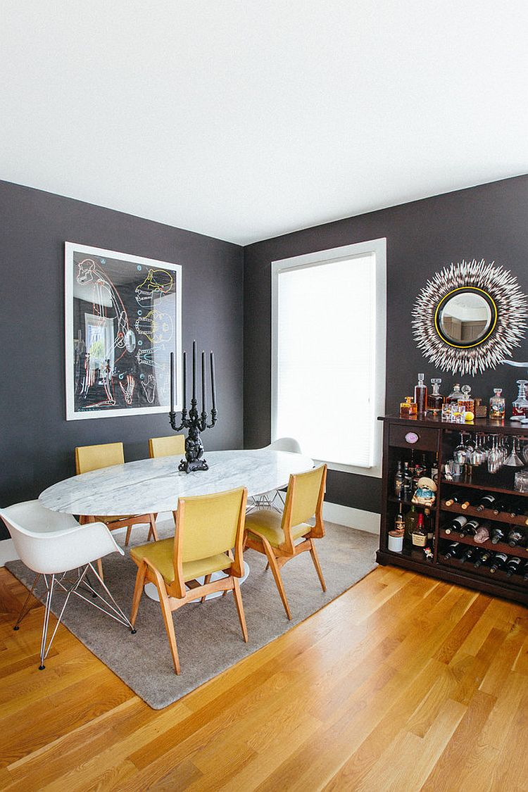 Trendy Color Duo 20 Dining Rooms That Serve up Gray and Yellow