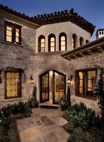 Mediterranean Style Homes Front Entry Courtyard