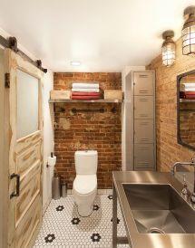 Industrial Brick Wall Bathroom