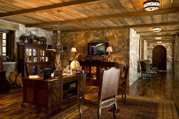 rustic home office design 15 Exquisite Home Offices with Stone Walls