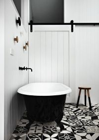 Lovely use of mismatched black and white floor tiles in ...