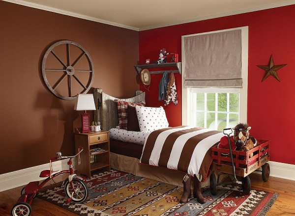 Baseball Themed Kids Bedroom With A Striking Red Accent