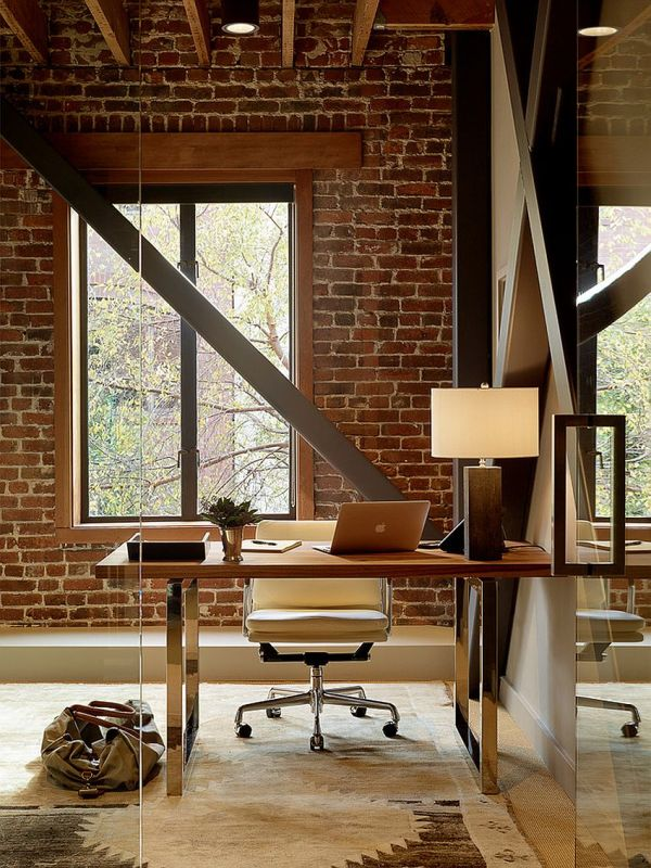 Office Interior Design with Brick Wall