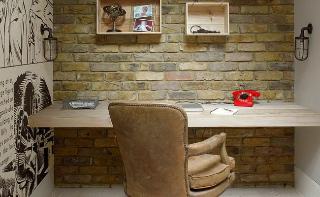 Trendy Textural Beauty 25 Home Offices With Brick Walls