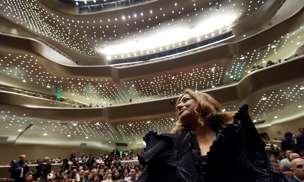 Zaha Hadid In The Auditorium Of Her Guangzhou Opera House