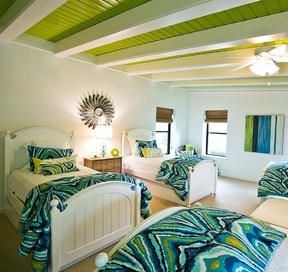 Turquoise Wallpaper For Girls Bedroom Visual Feast 10 Rooms With Magical Multicolored Ceilings