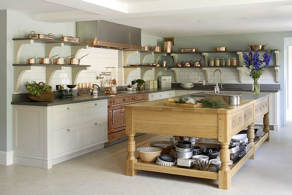 Fabulous kitchen with custom copper and stainless steel La Cornue range [Design: Artichoke]