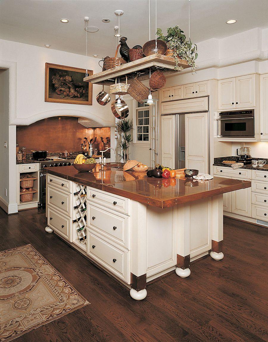 Polished copper countertop for the unique modern kitchen island [Design: Kleppinger Design Group]