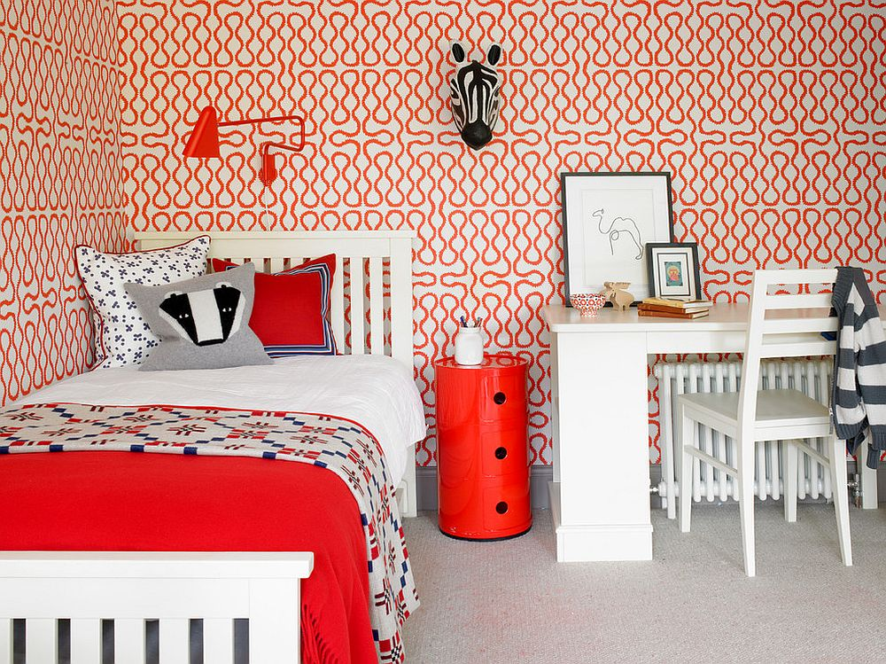 funky living room wallpaper minimalist 25 awesome rooms that inspire you to try out geometric view in gallery bright and cheerful kids bedroom with plenty of red design hannah brown