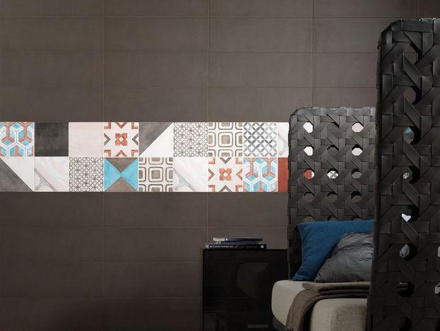 Patchwork Tiles Modern Striped Design on Dark Gray Walls in Bedroom