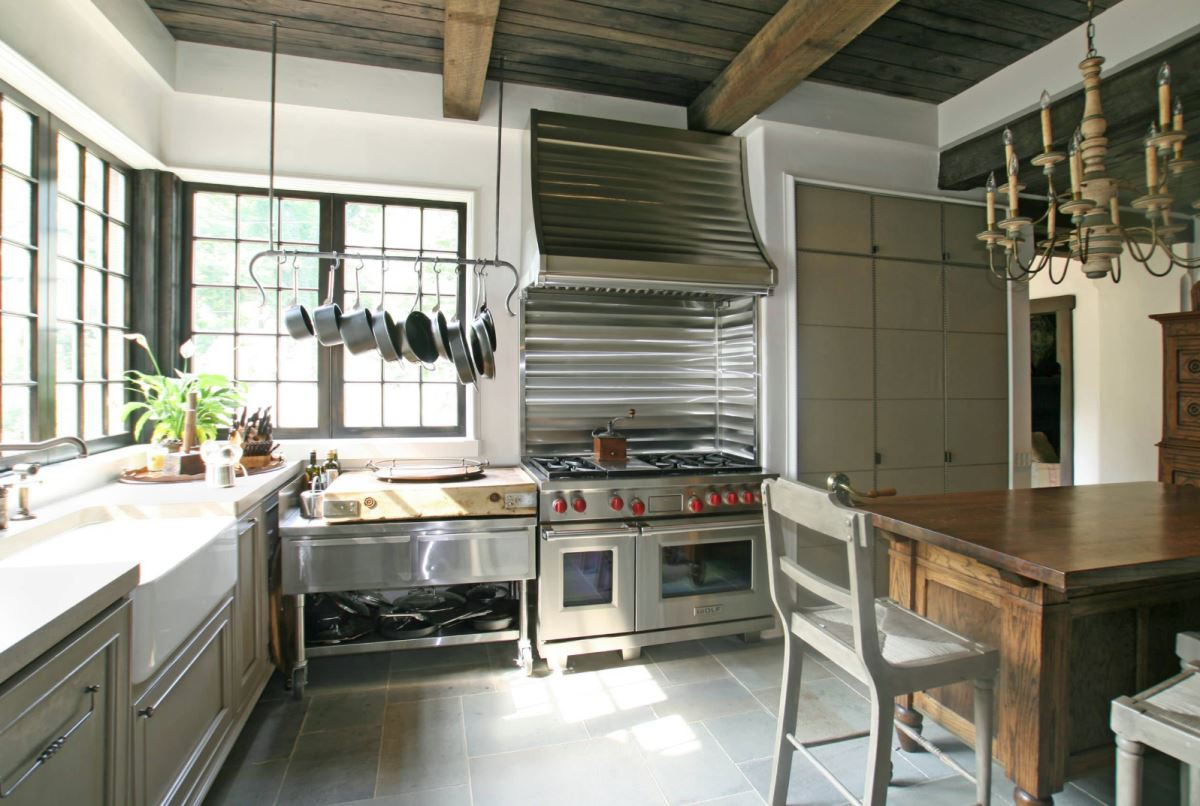 pot racks for kitchen linen towels stainless steel pots the modern view in gallery overhead rack a workspace