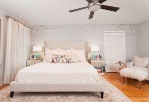 bedroom geometric wall door closet accent relaxing ceiling transitional inspiration fan understated master designs bedrooms delightful drum lamp bifold alongside