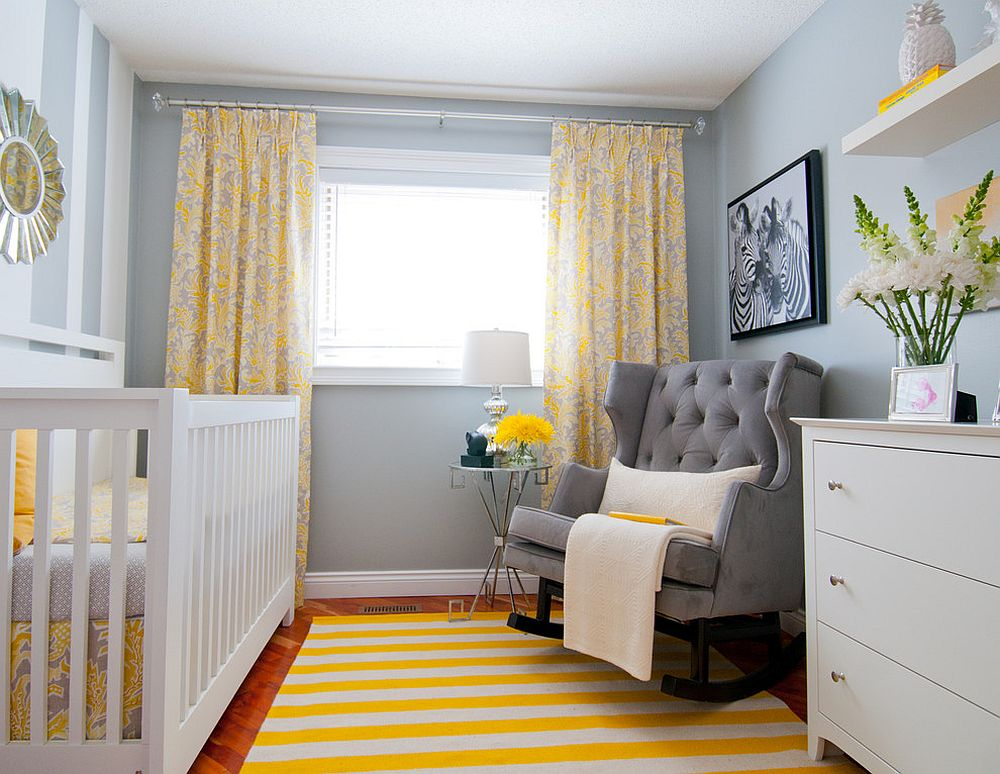 Yellow Grey Accent Chair