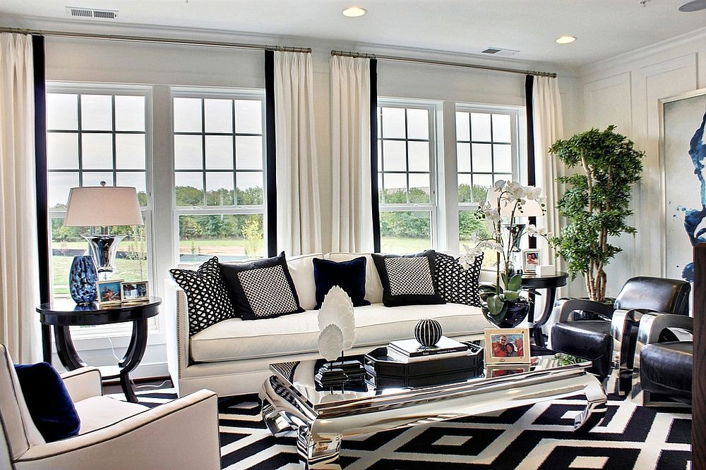black living room tables couch designs for 30 mirrored coffee that add a sparkle to your home white and blue shape refined family with table design