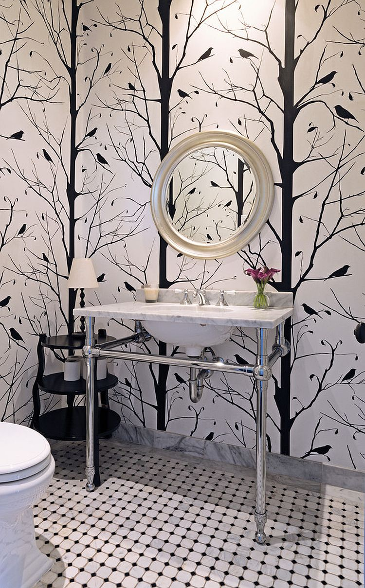 black and white wallpaper ideas for living room small idea uk always on trend 20 powder rooms in view gallery blackbird the design carolyn reyes