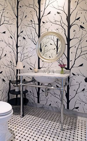powder rooms lavabos bedroom bagno contemporary colonial carolyn reyes accent houzz walls nero bianco blackbird trend always traditional idee trees