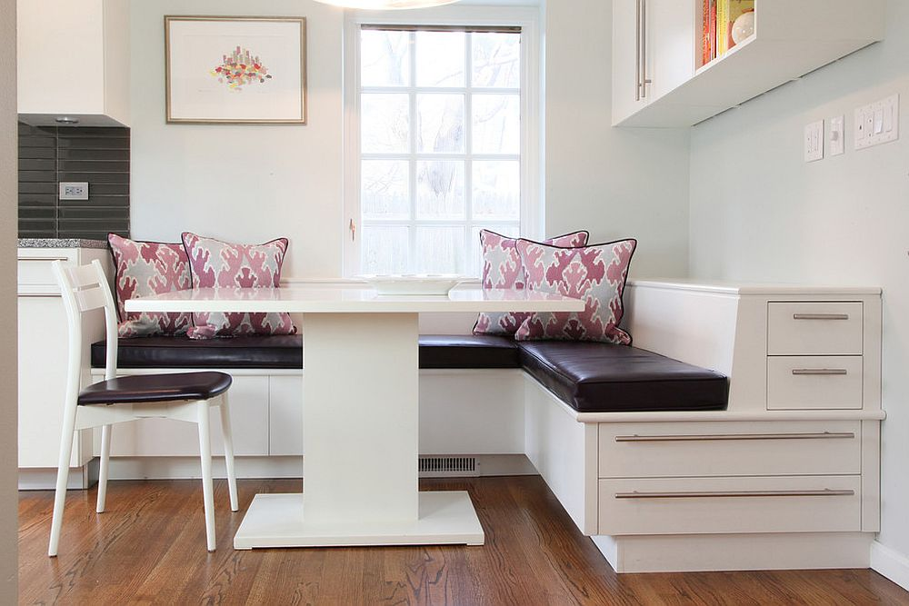 kitchen banquettes trailers 25 space savvy with built in storage underneath contemporary banquette maximizes the corner design krieger associates architects