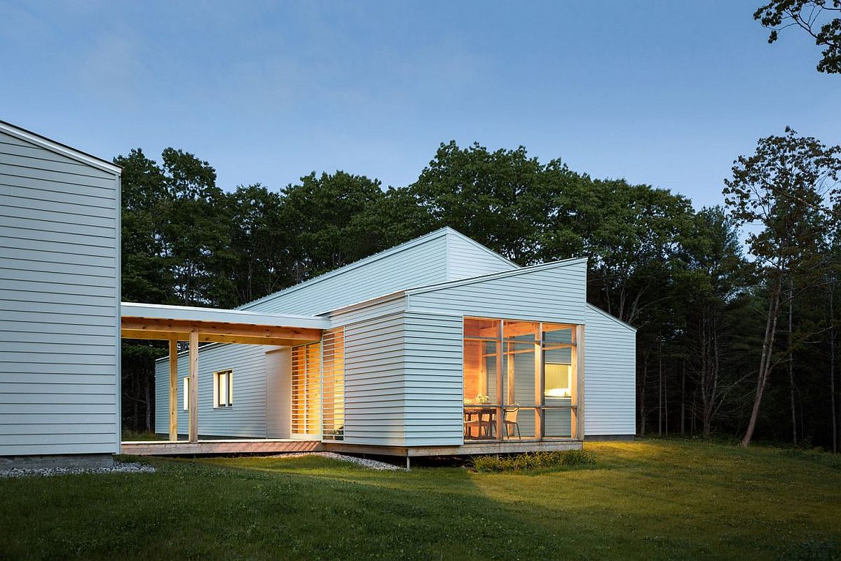 SolarPowered ZeroEnergy Home Surrounded by a Pine Forest