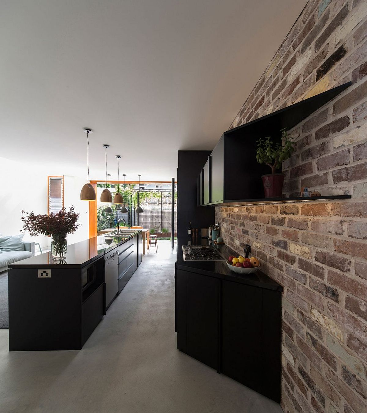 outside kitchen island cabinets at ikea budget family home in sydney uses reclaimed bricks ...