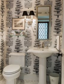 White Powder Room Designs Traditional
