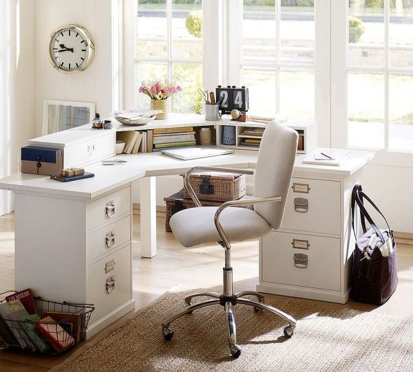 corner desk home office ideas 20 Ways to Decorate Home Office in White