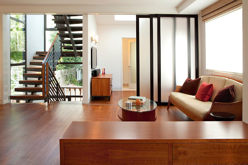 living room and kitchen divider design contemporary furniture for small 25 nifty space saving dividers the custom doors used as can be folded away when not needed