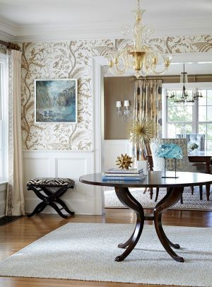 entry walls wallpapered entryway entrance hallway living hall stijl engelse round tables entryways central behang jules duffy moss laura georgianadesign