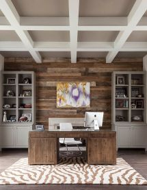 Office Design Ideas with Wood Accent Wall