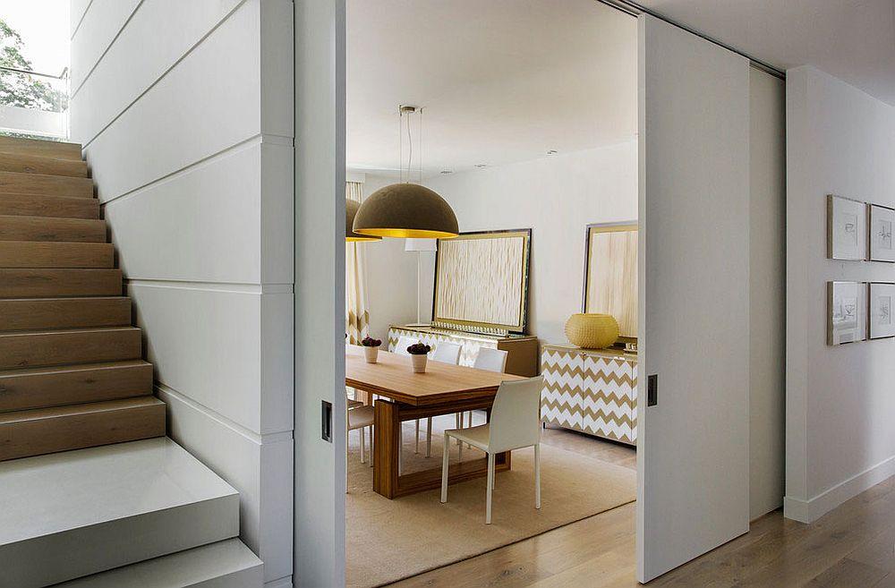 Formal Dining Room With Sliding Door