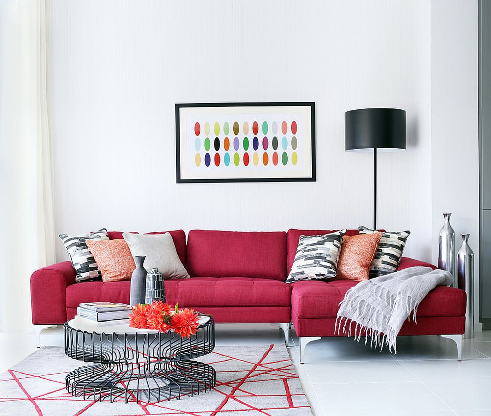 red couch in living room what is the best material for furniture vibrant trend 25 colorful sofas to rejuvenate your view gallery exquisite dark sofa brings vivaciousness white from alex maguire