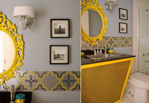 yellow and grey bathroom mirror Trendy and Refreshing: Gray and Yellow Bathrooms That Delight