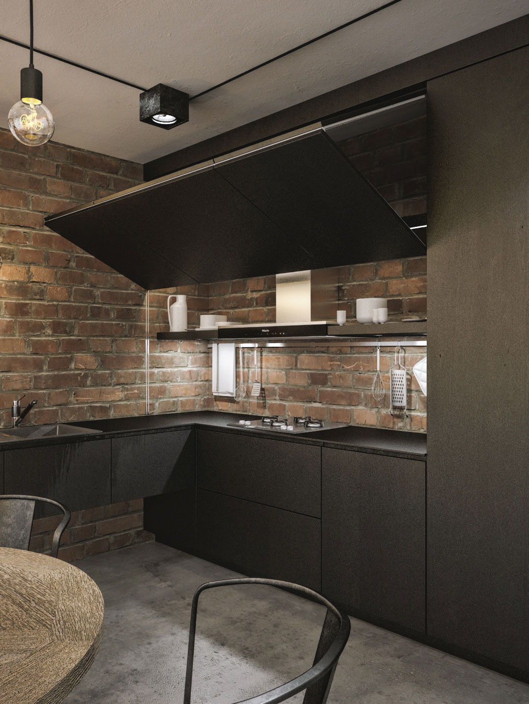 chandeliers for kitchen contemporary design modern loft in kaunas: industrial style wrapped ...