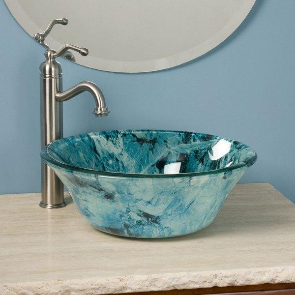 Glass Bathroom Vanity with Vessel Sink