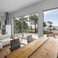 Japanese Living Room Set Designs With Grey Sofas Modern Scandinavian Log Cabin On A Beautiful Baltic ...