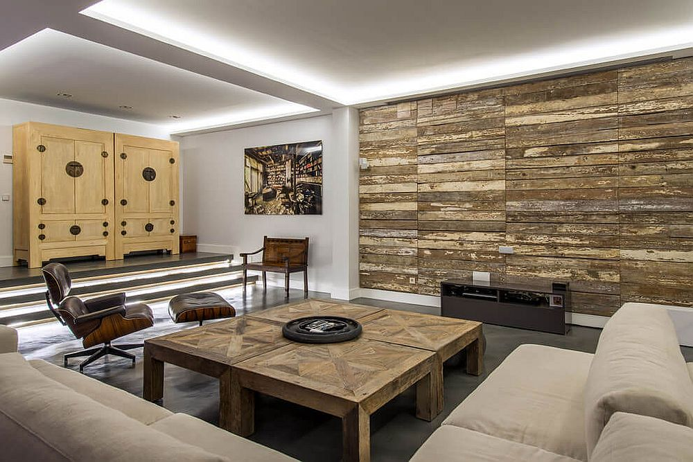 wood wall living room blue sofa set warmth and texture 10 unique accent walls in gallery