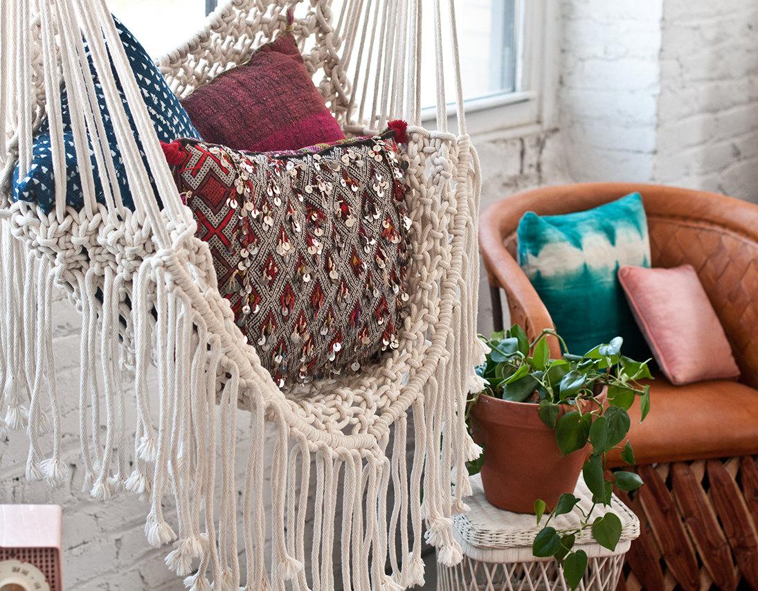 macrame hammock chair swing wicker boho chic: amazing hammocks that add a bohemian flair to your home
