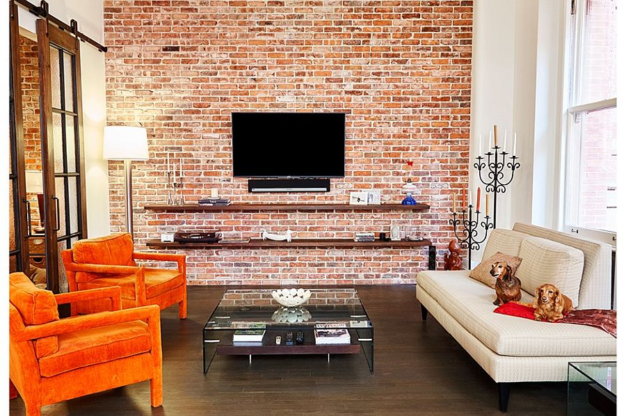 Exposed Brick Living Room Pinterest