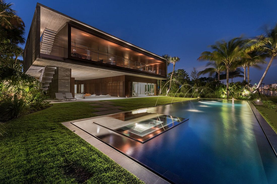 Rear facade of the stunning Indian Creek Residence in Miami Beach Luxury Miami Beach House with Man Made Lagoon Could Be Yours for $  29.75M!