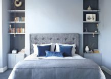 gray and blue bedroom