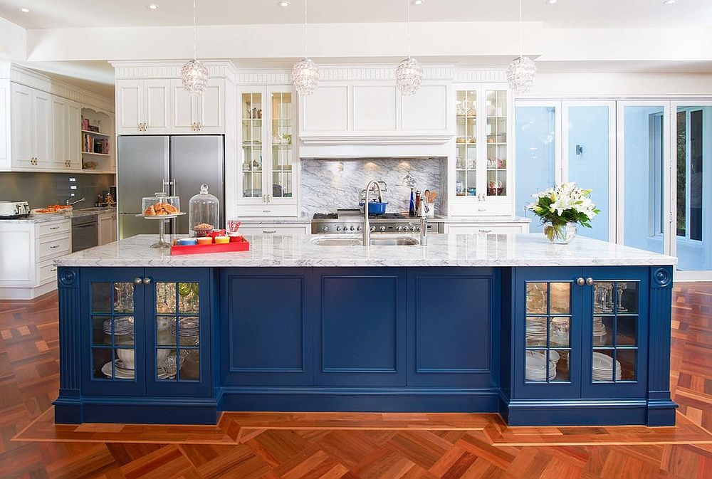 blue kitchen island white shaker cabinets 25 colorful ideas to enliven your home view in gallery expansive