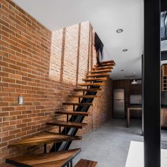 Open Plan Staircase In Living Room Interior Design Ideas 2018 Exposed Brick Walls Steal The Show This Modern ...