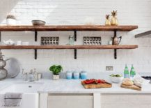 kitchen shelves ideas stainless steel shelf 20 rustic shelving with timeless rugged charm view in gallery modern farmhouse and a dark backdrop from anthropologie europe