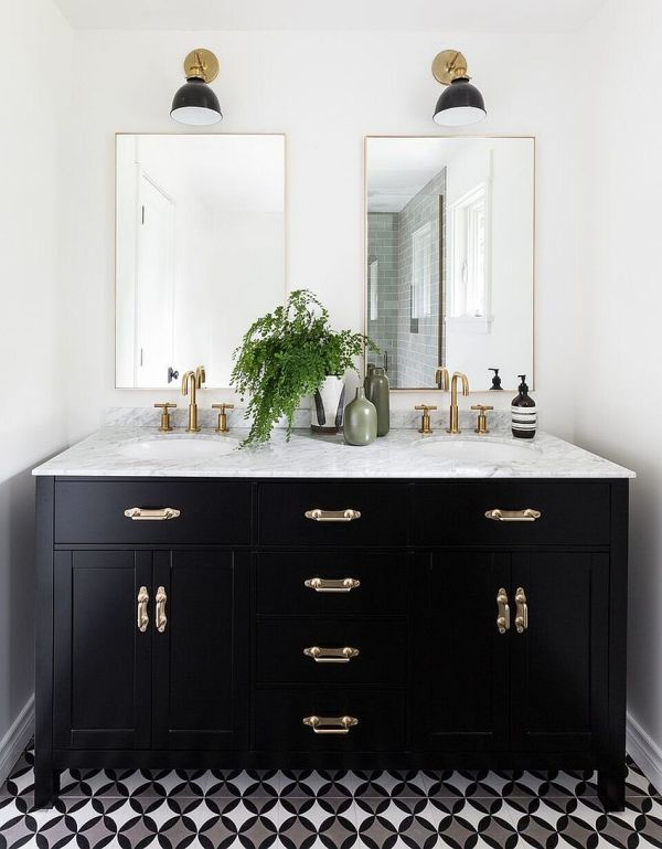 Black White Bathroom Vanity with Top