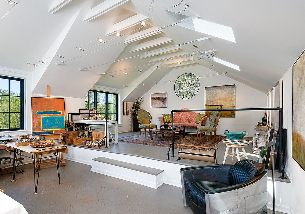 home offices with ceiling beams that