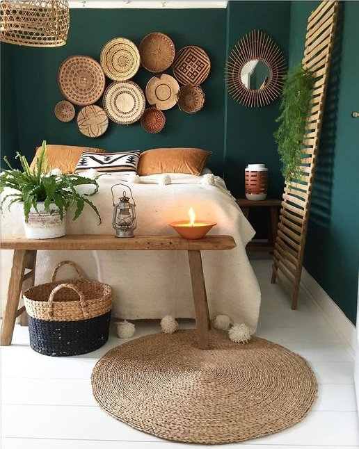 Deep Green Earth Toned Bedroom Urban Outfitters